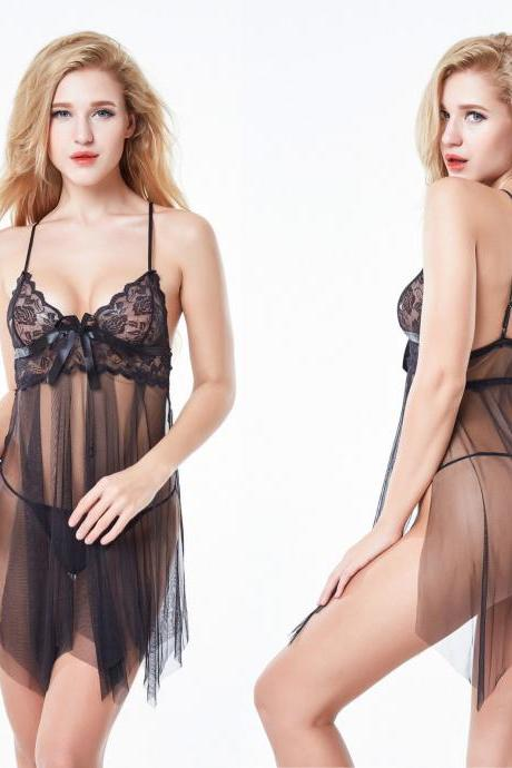 Women Sexy Nightwear Spaghetti Strap Nightgown Mini Lace Sleep Shirts Female See-Through Women Sleepwear Night Dress