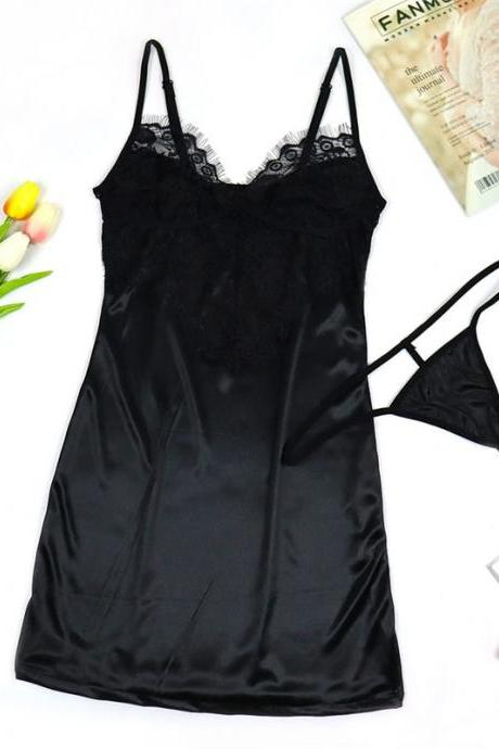 Sexy Women Nightgown Stain Sleepwear Sleep Dress