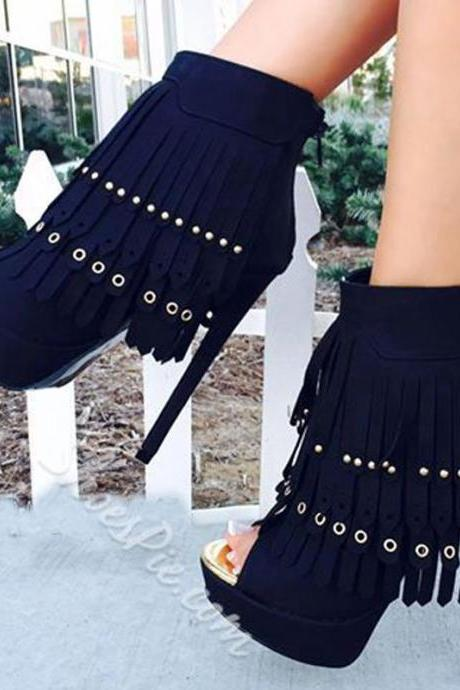 Black Platform Peep Toe Fringe High Heel Sandals
