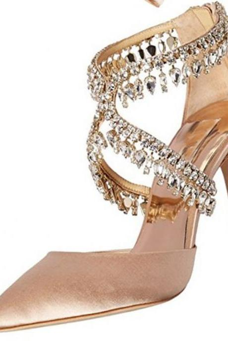 Champagne Rhinestone Pointed Toe High Heel Slides