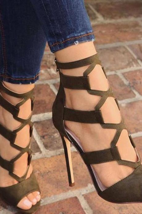 Sexy Suede Cutout Peep Toe High Heel Sandals