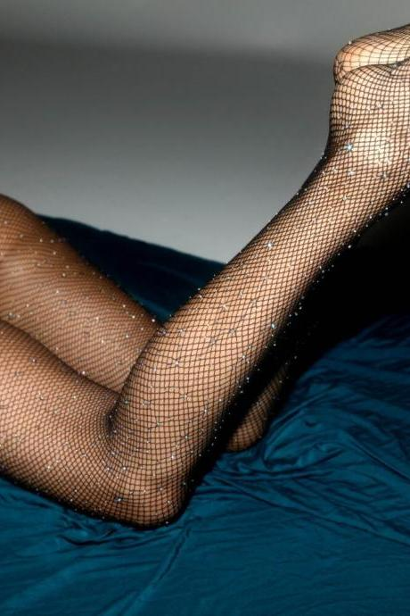 Sexy Women Stockings Shiny fishnet stocking Hollow mesh Diamonds plaid knee long Sparkle Rhinestone high knee stocking-1