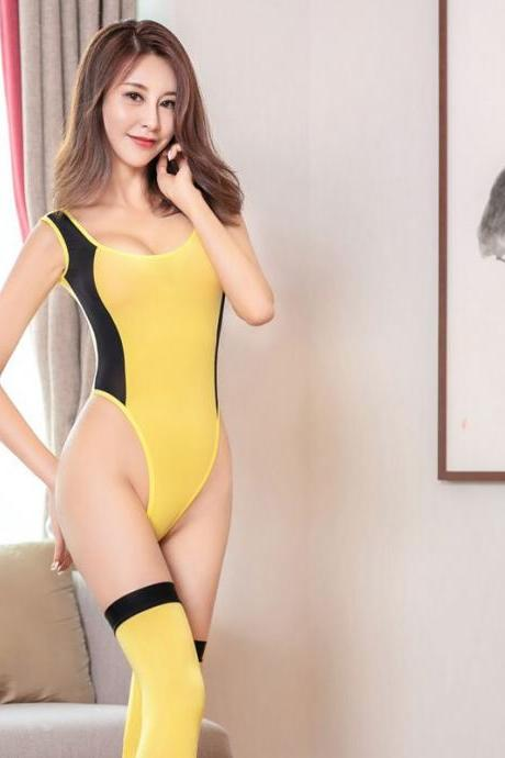 Sexy Women One Piece Bodysuit Patchwork High Cut Ice Silk Leotard See Through Sexy Tight Thong Sukumizu Bodysuit With Stocking-2