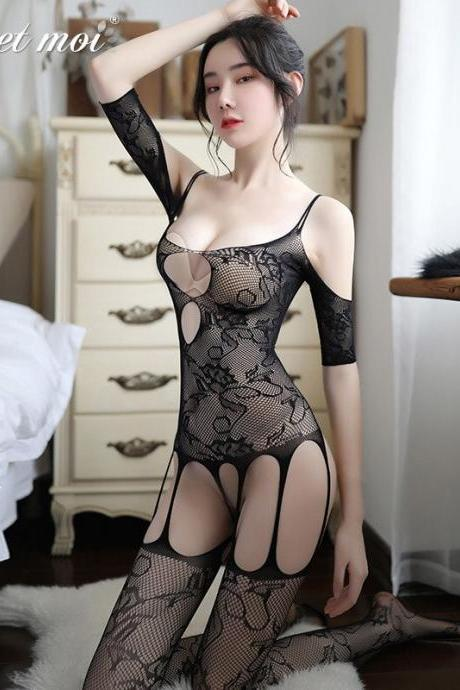 Sexy Erotic Lingerie Women Fetish Open Crotch Body Stocking Bodysuits Sex Hollow Crotchless Clothes Underwear For Adult Woman