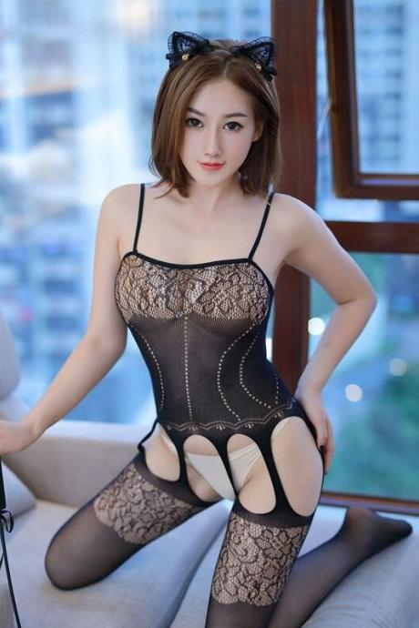 Plus Size Bodystockings Women Sexy Lingerie Fetish Body Suit Underwear Latex Catsuit Erotic Costumes Lenceria Sexi Para Mujer