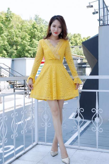 Sexy Deep V Neck Long Sleeve Lace Party Yellow Dress