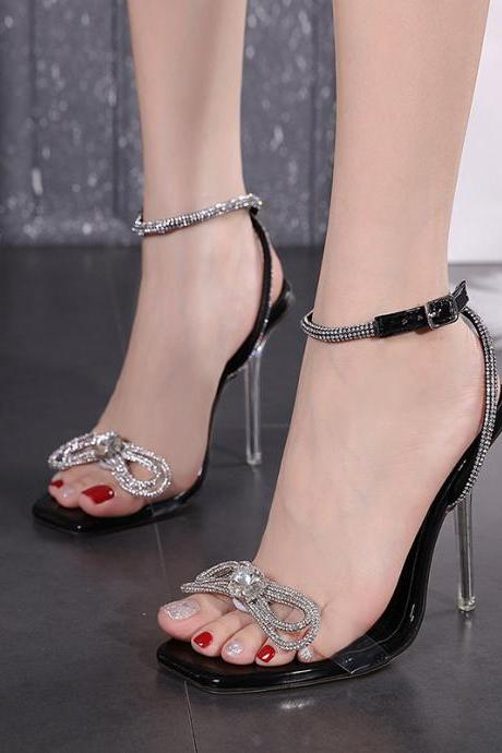 Summer Rhinestone Bow Square Toe Sandals