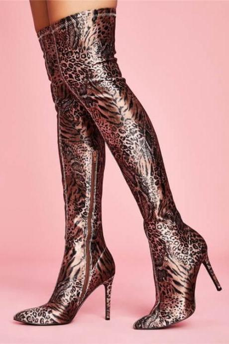 Leopard Party Stretch Print Point Toe Zipper Over Knee Boots