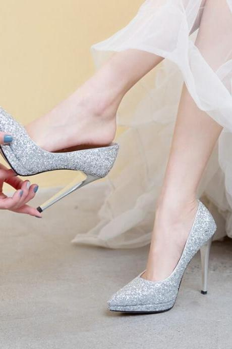 Silver Wedding Sequin Point Toe Slip-On Pumps