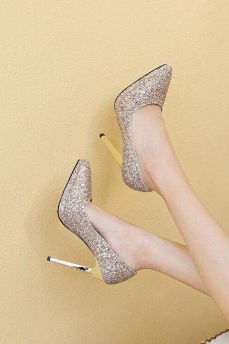 Champagne Wedding Sequin Point Toe Slip-On Pumps