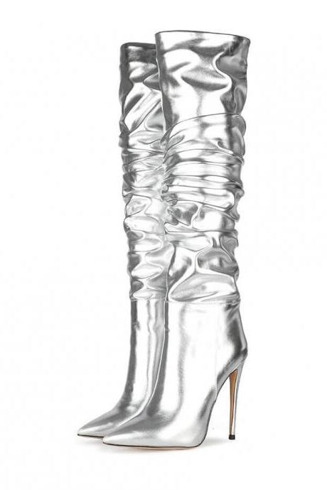 Silver Fashion PU Point Toe Fold High Heel Knee High Boots
