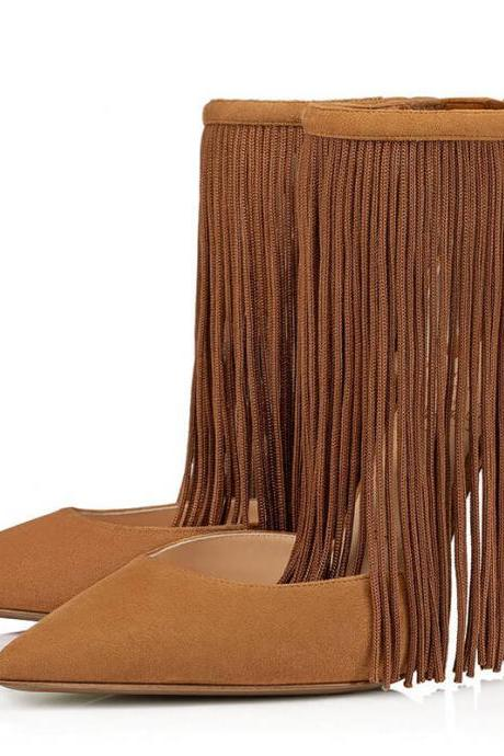 Sexy Brown Suede Point Toe Fringe Buckle High Heels