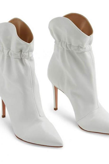 White Fashion PU Plian Point Toe High Heel Ankle Boots