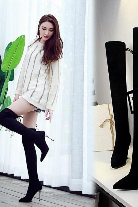 Black Suede Point Toe Strap High Heel Over Knee Boots