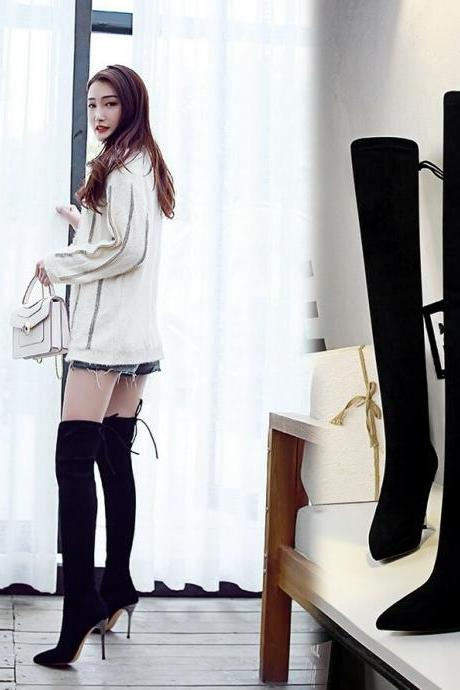 Black Inside Suede Point Toe Strap High Heel Over Knee Boots