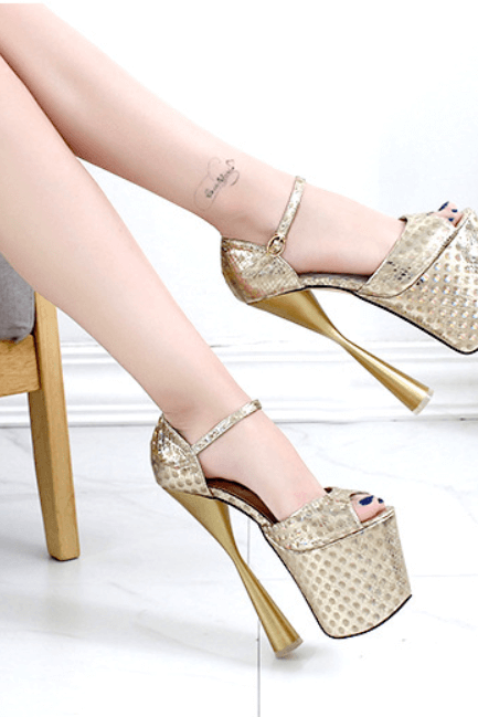 Champagne Club Peep Toe PU Platform Buckle High Heels