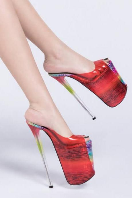 Red Party Peep Toe Multi PU Platform Mule Pumps