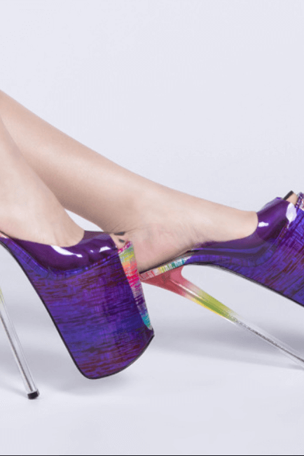 Purple Party Peep Toe Multi PU Platform Mule Pumps