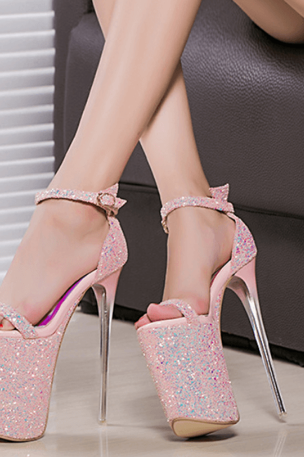Pink Party Sequin Peep Toe Platform High Heel Sandals