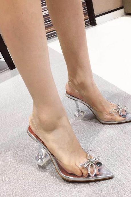 Sexy PVC Rhinestone Point Toe Bow High Heel Sandals