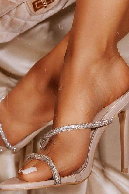 Beige Sexy PU Rhinestone Point Toe High Heel Mule Sandals