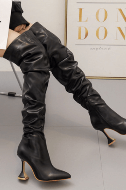 Black Sexy PU Point Toe Plain High Heel Over Knee Boots