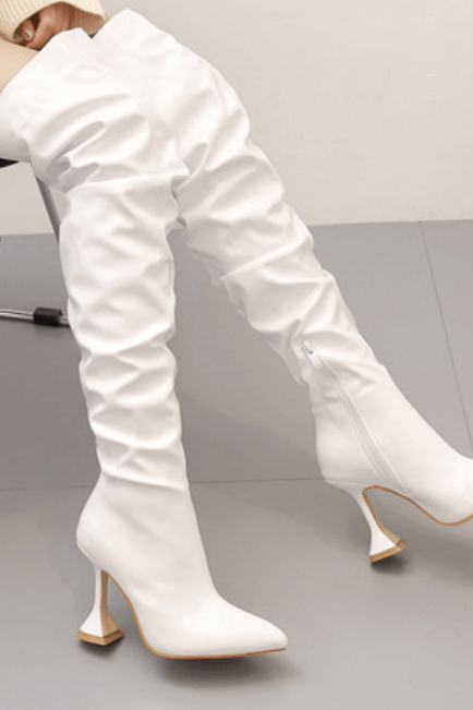 White Sexy PU Point Toe Plain High Heel Over Knee Boots