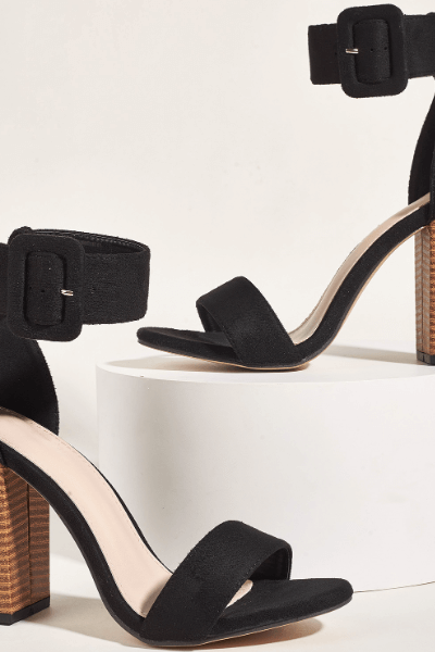 Sexy Black Plain Suede Chunky Heel Buckle Sandals