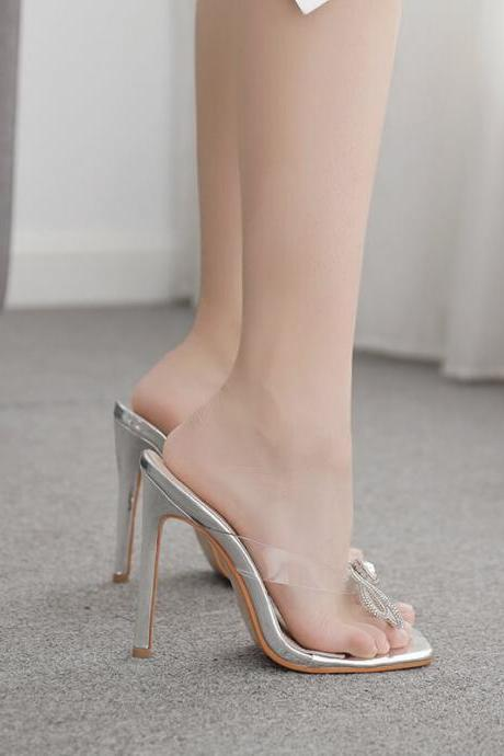 Silver Sexy Rhinestone Square Toe Bow High Heel Sandals