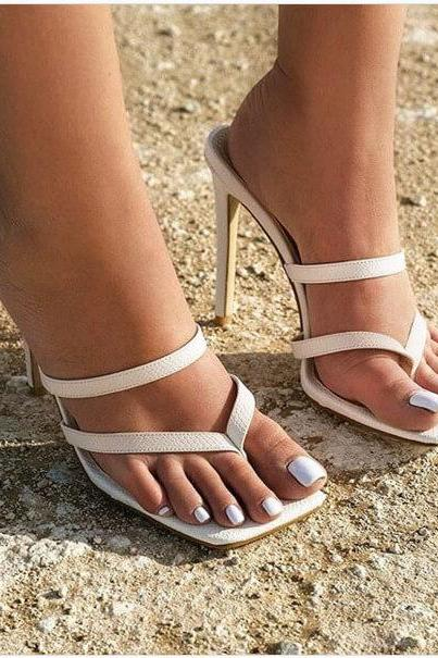 Sexy White Square Toe Thong High Heel Mule Sandals