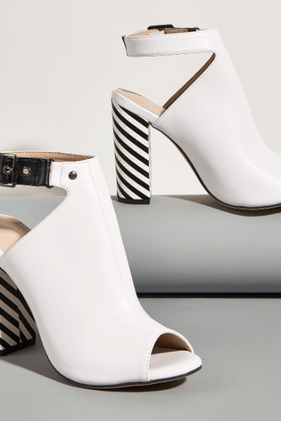 Sexy PU White Stripes Peep Toe Chunky Heel Sandals