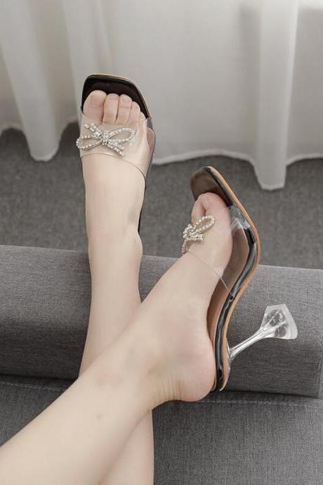 Black Summer Rhinestone Square Toe Bow High Heel Sandals