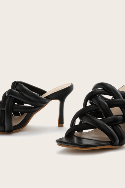 Black Leather Square Toe Cutout High Heel Mule Sandals