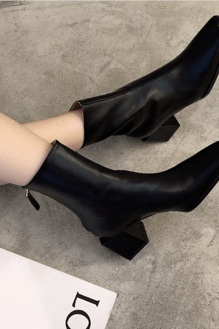 Black Leather Square Toe Chunky Heel Zipper Calf Boots