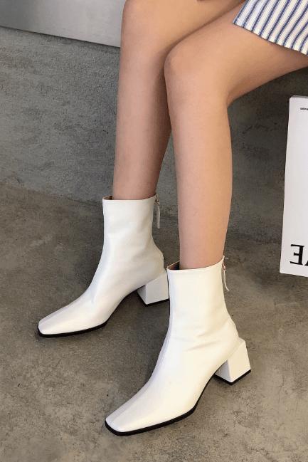 White Leather Square Toe Chunky Heel Zipper Calf Boots
