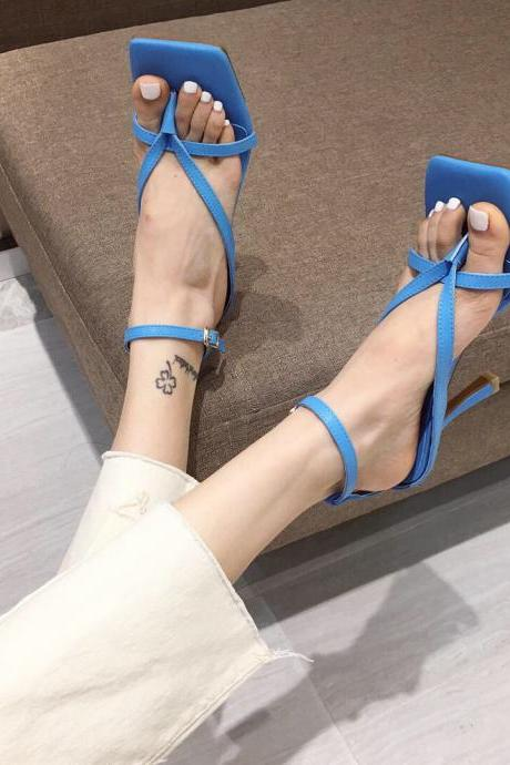 Blue Summer PU Square Toe Plain Thong High Heel Sandals
