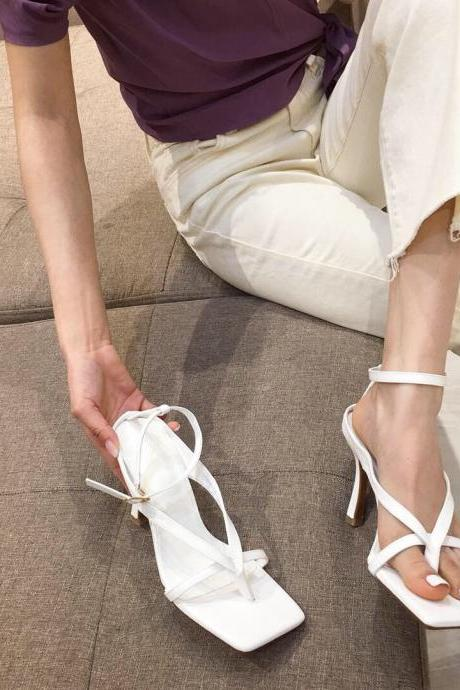 White Summer PU Square Toe Plain Thong High Heel Sandals