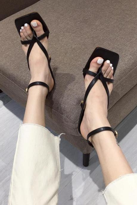 Black Summer PU Square Toe Plain Thong High Heel Sandals