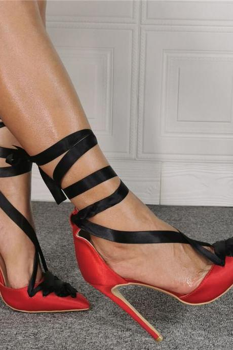 Red Ankle Strap Point Toe High Heels