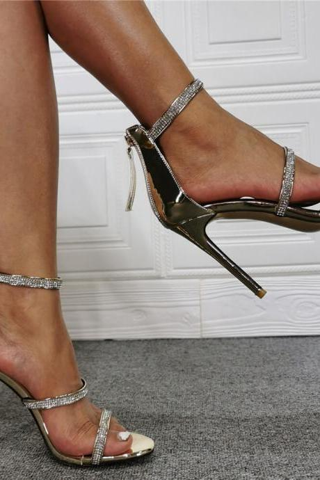 Champagne Rhinestone Open Toe High Heel Sandals