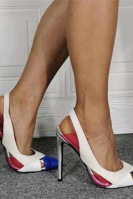 White PU Multi Point Toe Cutout Pumps
