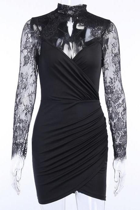 Sexy Lace Long Sleeve Bodycon Dress