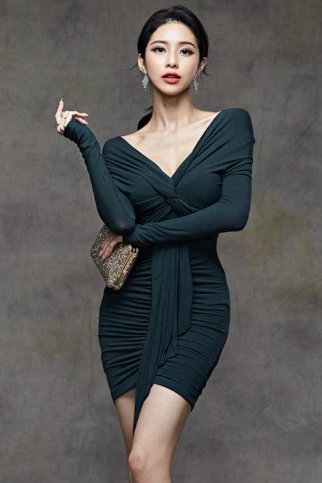 Free Shipping Sexy V-neck Slim-Fit Pleated Sleeve Party Dress