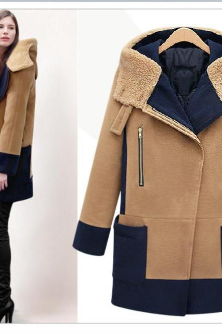 Plus Size Splicing Long Wool Coat
