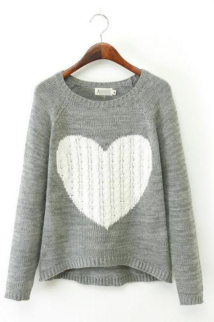 Love Heart Pattern Irregular Pullover Sweater