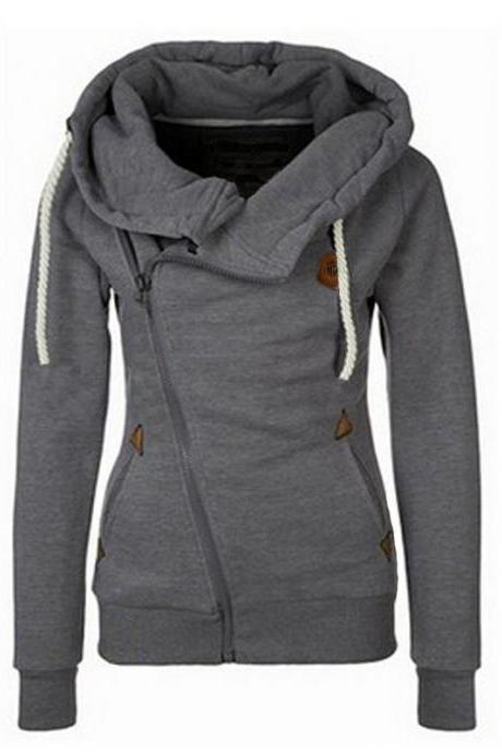 Sport High Neck Lace Up Casual Hoodie
