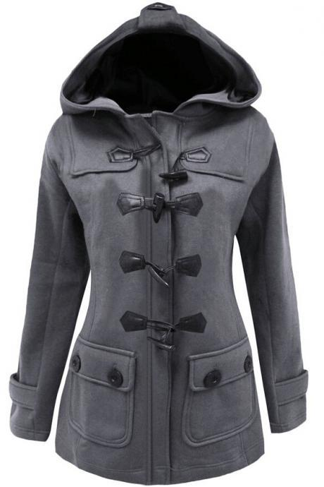 Women Button Long Hooded Trench Coat