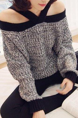 Stylish V-Neck Long Sleeve Hollow Out Spliced Sweater For Women