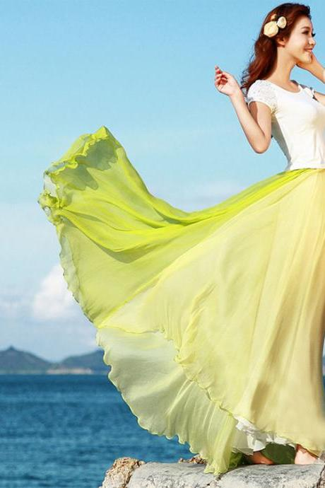 Bohemia Style Multi-way Strapless Chiffon Long Pleated Beach Skirt