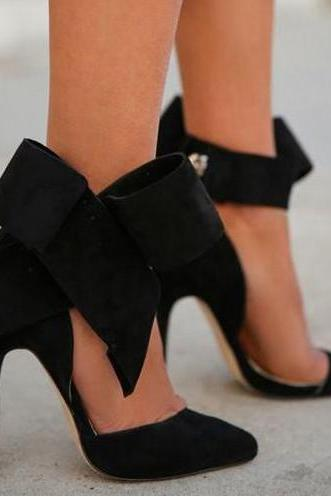 Fashion Removable Big Bow High Heel Heels Shoes